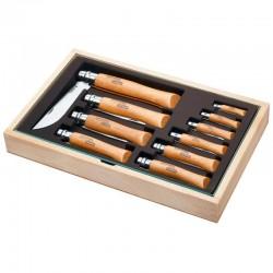 Opinel Vitrine de Madeira com 10 Canivetes Carbono